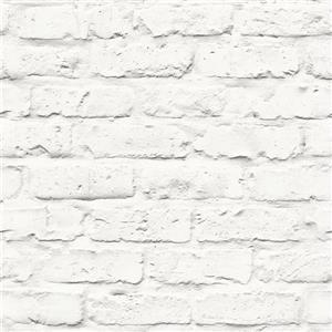 Walls Republic White/White Contemporary Faux Brick Wallpaper