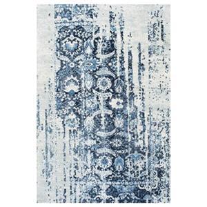 Blue Distressed Ernestina Flourish Area Rug