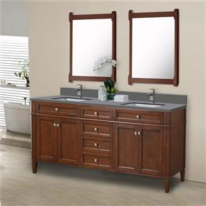 GEF Catalina Vanity with Grey Quartz, 72-in Walnut