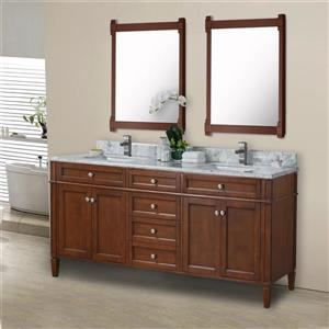 GEF Catalina Vanity with Carrara Marble Top, 72-in Walnut