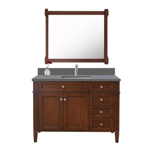 GEF Catalina Vanity with Grey Quartz Top, 42-in Walnut