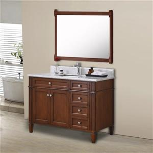 GEF Catalina Vanity with Carrara Marble Top, 42-in Walnut
