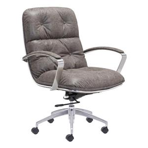 Zuo Modern Avenue Office Chair - 22-in x 20.9-in - Faux Leather - Vintage Grey