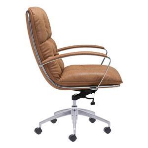 Zuo Modern Avenue Office Chair - 22-in x 20.9-in - Faux Leather - Coffee/Beige