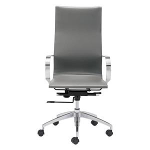 Zuo Modern Glider Office Chair - 18-in - 20.5-in - Faux Leather - Gray