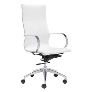 Zuo Modern Glider Office Chair - 18-in - 20.4-in - Faux Leather - White