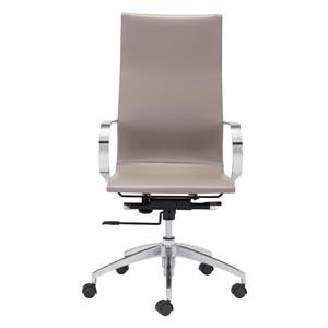 Zuo Modern Glider Office Chair - 18-in - 20.4-in - Faux Leather - Taupe
