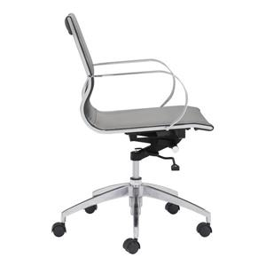 Zuo Modern Glider Office Chair - 18-in - 20.1-in - Faux Leather - Gray