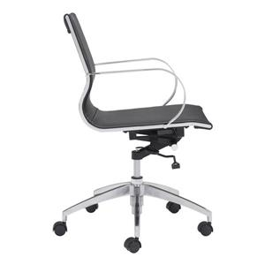 Zuo Modern Glider Office Chair - 18-in - 20.1-in - Faux Leather - Black