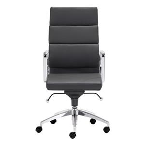 Zuo Modern Engineer Office Chair - 18.5-in - 24.5-in - Faux Leather - Black