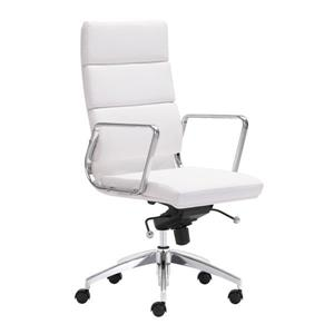 Zuo Modern Engineer Office Chair - 18.5-in - 24.5-in - Faux Leather - White