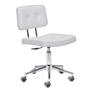 Zuo Modern Series Office Chair - 18.5-in - 23.3-in - Faux Leather - White