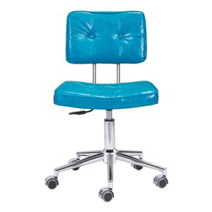 Zuo Modern Series Office Chair - 18.5-in - 23.3-in - Faux Leather - Blue
