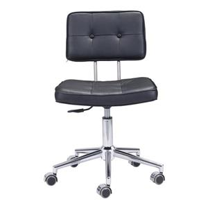 Zuo Modern Series Office Chair - 18.5-in - 23.3-in - Faux Leather - Black