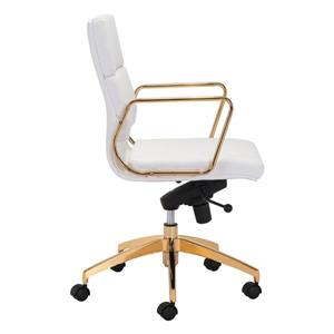 Zuo Modern Scientist Office Chair - 18.9-in - 21.3-in - White and Gold