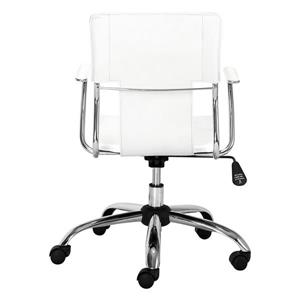 Zuo Modern Trafico Office Chair - 17-in - 21-in - Faux Leather - White