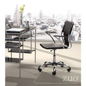 Zuo Modern Trafico Office Chair - 17-in - 21-in - Faux Leather - Black