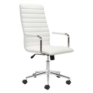 Zuo Modern Pivot Office Chair - 18.9-in - 21.6-in - Faux Leather - White