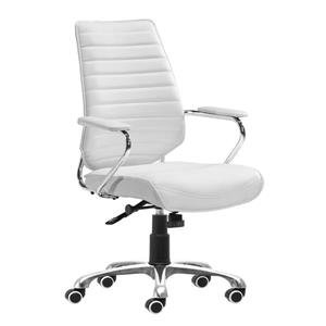 Zuo Modern Enterprise Office Chair - 20.5-in - Faux Leather - White
