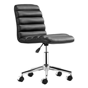 Zuo Modern Admire Office Chair - 20.5-in x 18.5-in - Faux Leather - Black