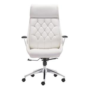 Zuo Modern Boutique Office Chair - 19.7-in x 18-in - Faux Leather - White