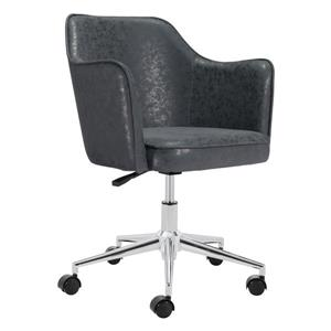 Zuo Modern Keen Office Chair - 17.7-in - 20.1-in - Faux Leather - Black