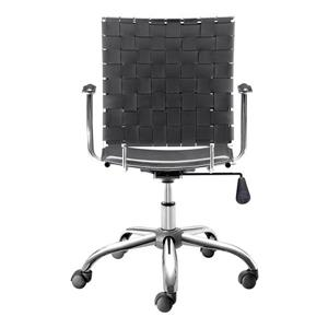 Zuo Modern Criss Office Chair - 17.5-in - 20.5-in - Faux Leather - Black