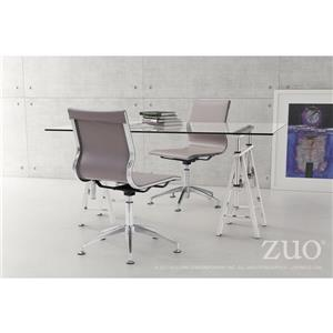 Zuo Modern Glider Office Chair - 19-in - 18.5-in - Faux Leather - Taupe