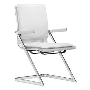 Zuo Modern Lider Office Chair - 16-in - 17.5-in - Faux Leather - White