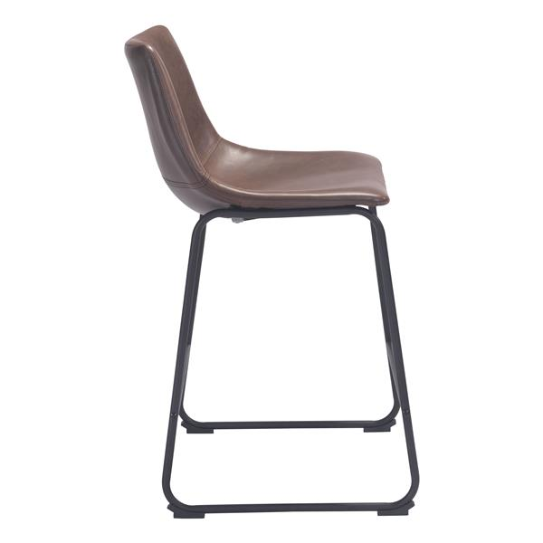 Awesome Zuo Modern Smart Bar Stool 24 3 In Faux Leather Brown Creativecarmelina Interior Chair Design Creativecarmelinacom