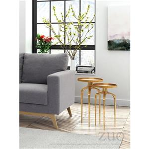 Zuo Modern Como Side Table - 13.3-in x 23.3-in - Gold