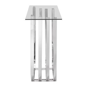 Zuo Modern Fan Collection Console Table - 55-in x 33.3-in - Chrome and Tempered Glass