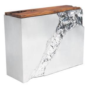 Zuo Modern Luxe Console Table - 47.2-in x 36.6-in - Teak Wood - Silver Grey