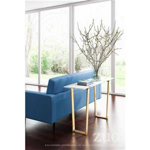 Zuo Modern Atlas Console Table - 47.2-in x 30.3-in - Faux Marble - Gold Frame