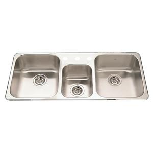 Kindred 41.63-in Stainless Steel Triple Sink