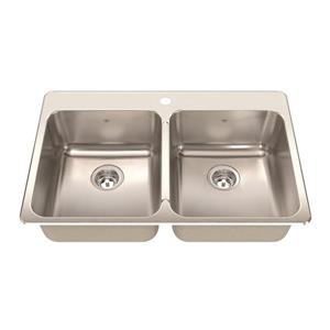 Kindred 33.38-in Stainless Steel Double Sink