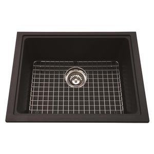 Kindred Franke 18.13-in X 23-in Black Granite Double Sink