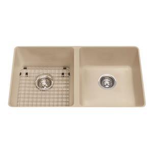 Kindred Granite Champagne Franke Double Sink 31.56-in X 18.13-in