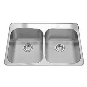 Kindred Reginox Topmount 31-in Double Kitchen Sink