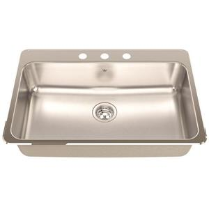 Kindred Steel Queen Topmount 31.25-in x 20.5-in Stainless Steel Single Kitchen Sink with Faucet Ledge