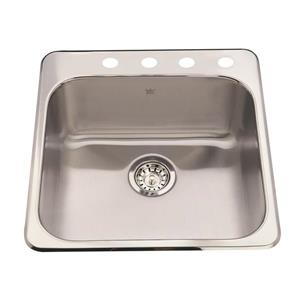 Kindred Steel Queen Topmount 20-in Stainless Steel Single Kitchen Sink with Faucet Ledge