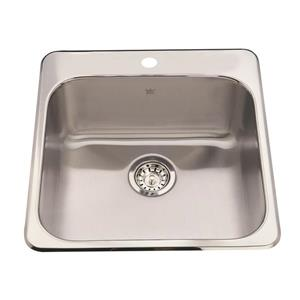 Kindred Steel Queen Topmount 20.5-in Stainless Steel Silver Single Kitchen Sink with Faucet Ledge