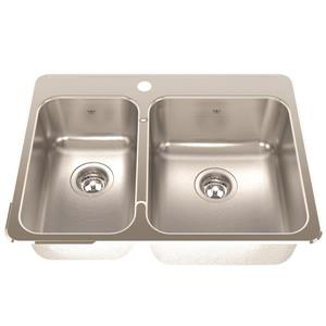 Kindred 20.56-in Stainless Steel Chrome Double Sink