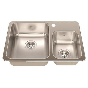 Kindred 18.13-in Stainless Steel Chrome Double Sink