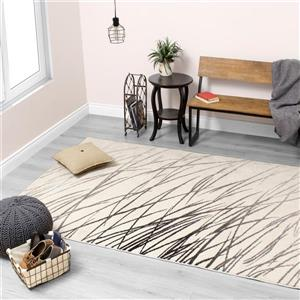 Kalora Safi Reeds in the Wind Rug - 5' x 8' - Cream/Grey