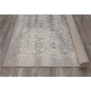 Kalora Intrigue Distressed Damask Rug - 5' x 8' - Cream