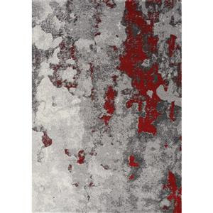 Freemont Grey/Red Abstract Expression Area Rug
