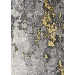 Freemont Grey/Yellow Abstract Expression Rug