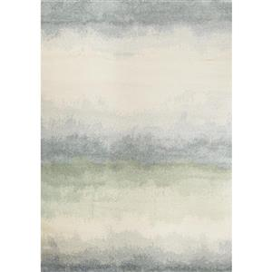 Focus Cream/Blue Distressed Banded Rug
