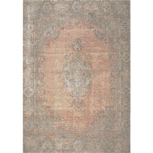 Cathedral Salmon/Grey Traditional Border Area Rug